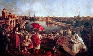 Ranjit Singh at Harmandir Sahib - August Schoefft - Vienna 1850 - Princess Bamba Collection - Lahore Fort