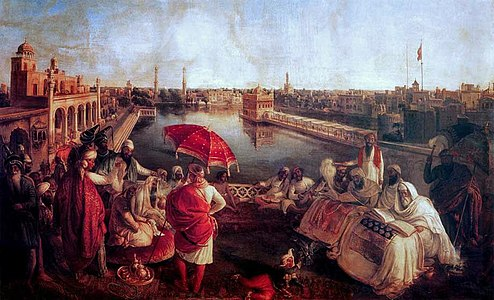Ranjit Singh at Harmandir Sahib - August Schoefft - Vienna 1850 - Princess Bamba Collection - Lahore Fort.jpg