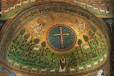 Transfiguration of Jesus. Allegorical image with Crux gemmata and lambs represent apostles, 533-549, apse of Basilica of Sant'Apollinare in Classe Ravenna SantApollinare Classe3.jpg