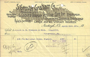 "Patent medicine - Receipt from 1900 for a patent medicine claiming a ""Positive Cure for Dyspepsia, Heartburn, Gastritis, Threatened Cancer and all Stomach Troubles"" with ""Relief in five minutes."""