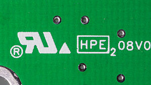 UL (safety organization) - The Recognized Component Mark (left) on a printed circuit board