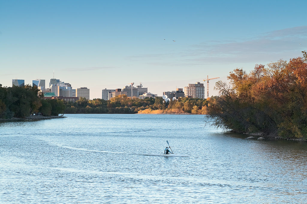 wascana lake and park in the wascana centre, near central city Regina