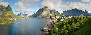 Dried and salted cod - For hundreds of years fishing villages in the archipelago of Lofoten, Norway,  produced dried and salted cod from cod fisheries. These villages were centred around the area now occupied by the village of Reine (pictured).