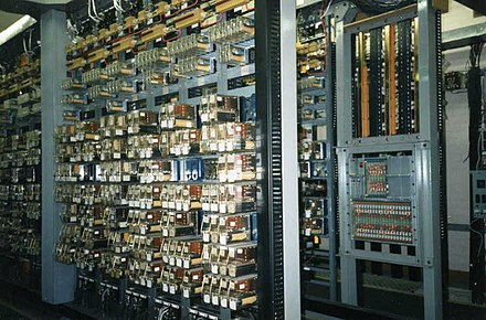 Part of a relay interlocking using UK Q-style miniature plug-in relays Relay room.jpg