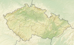 """Mapa konturowa Czech, po prawej nieco u góry znajduje się punkt z opisem """"źródło"""", natomiast po prawej znajduje się punkt z opisem """"ujście"""""""