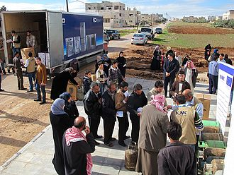 International Catholic Migration Commission - ICMC distributes relief items in Jordan, 2012.