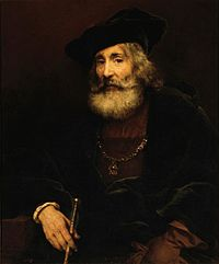 Rembrandt - Seated old man with a cane in fanciful costume.jpeg