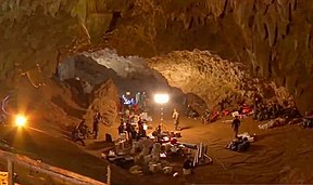 Rescue equipment in Tham Luang entrance chamber (cropped).jpg
