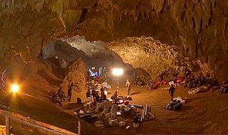 Tham Luang cave rescue International operation to rescue a group of 12 boys and 1 adult from a flooded cave in Thailand in 2018