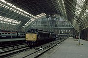 Two Class 45s at St Pancras in 1984. This photograph, when compared with the earlier photograph of the upper level of The Arcade taken from a similar position, shows the scale of the change that has happened to the station.