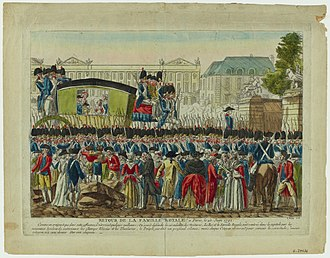 The return of the royal family to Paris on 25 June 1791, after their failed flight to Varennes Retour Varennes 1791.jpg