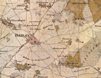 Rheindahlen - Dahlen and surroundings on the 1806/07 Tranchot map