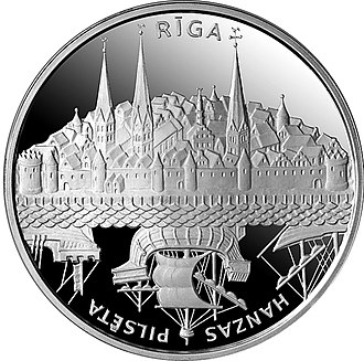 Commemorative coins of Latvia - Image: Riga Hanze reverss