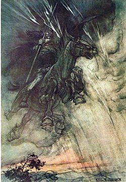 Ilustraci�n de Od�n por Arthur Rackham para la �pera Die Walk�re de Richard Wagner