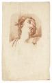 Ritstudie på kvinna med hårprydnad och halsband, 1700-tal - Skoklosters slott - 99192.tif