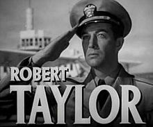 O actor estatounitense Robert Taylor en una scena d'a cinta Flight Command (1940).