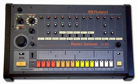 The Roland TR-808 Rhythm Composer, produced 1980–1984, had a bass drum sound which became very important in Drum and bass. Roland TR-808 drum machine.jpg