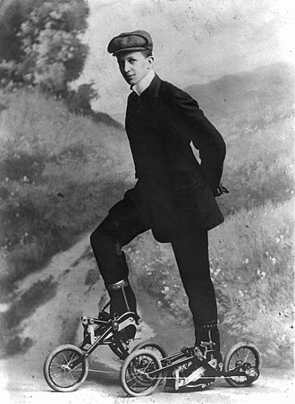 Roller skating - Young man on the Edvard Petrini's pedaled roller skates, known as Takypod in Sweden, circa 1910