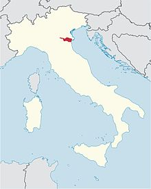 locator map for diocese of Ferrara in northeast Italy