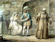 Romeo and Juliet with Friar Laurence by Henry William Bunbury. Feminist literary critics have pointed out Juliet's dependence on male characters, such as Friar Laurence and Romeo.
