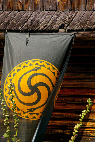 Romuva (religion) - The official symbol of the Romuvan Church of Lithuania on a flag.