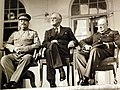 Roosevelt Churchill and Stalin at Tehran Conference 1943 (24108049170).jpg