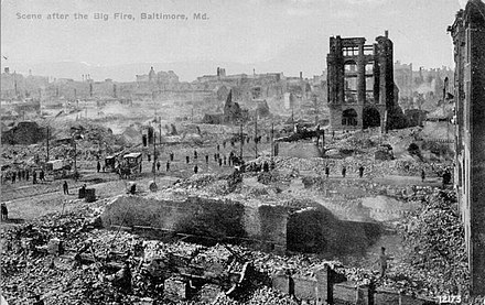Ruin left by the Great Baltimore Fire Rubble of the Great Baltimore Fire.jpg