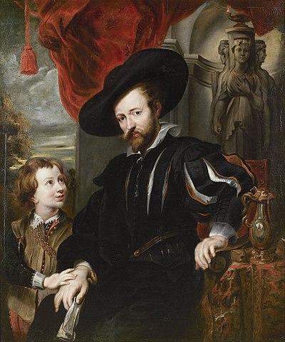 Автопортрет с сыном Альбертом. Копия с утраченного оригинала. Антверпен, Дом Рубенса