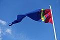 Sámi (Saami) flag, pennant of Sàpmi, blue sky. Sameflagg vimpel blå himmel. Harstad 2019-05-09 DSC01203.jpg