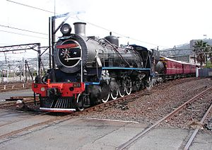 South African Class 24 2-8-4 - No. 3655 City of Cape Town leaving Monument station, 8 August 2010