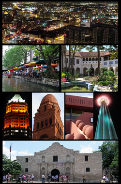 Top: Night view of Downtown San Antonio from the Tower of the Americas, 2nd left: The River Walk, 2nd right: McNay Art Museum, 3rd left: Tower Life Building, 3rd middle left: Bexar County Courthouse, 3rd middle right: San Antonio Public Library, 3rd right: Tower of the Americas at night, Bottom: Alamo Mission House