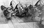 SB2C-5s of VB-18 on USS Leyte (CV-32) 1946.jpg