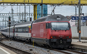 Léman Express - An Re 460, these engines pull updated eurofima carriages as commuter services in Geneva. non- RER