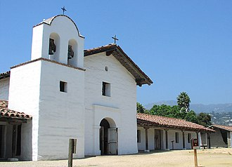 Presidio of Santa Barbara - A view of the main restored portion of the Presidio in 2005, with the chapel in the center