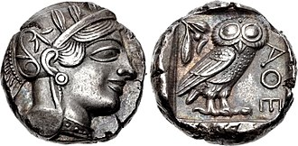 Tetradrachm - An Athenian tetradrachm from after 499 BCE, showing the head of Athena and the owl