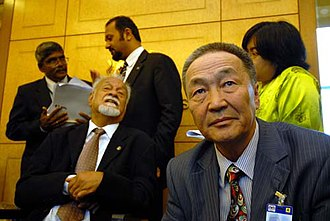 Karpal Singh - Karpal Singh (seated on the left) holding a press conference at the Parliament building.