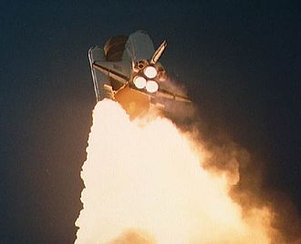 STS-61-A - Challenger during the launch of STS-61A