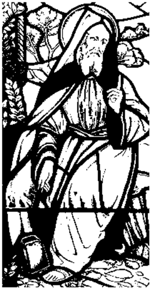 Beuno - Drawing of a Stain glass window depicting Saint Beuno