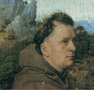 Saint Francis Receiving the Stigmata (van Eyck) - Detail of Francis of Assisi (Turin). Note the alert eyes and brows and receding, uncombed hairline