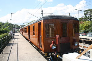 Saltsjöbanan - Preserved wooden train carriages, August 2014