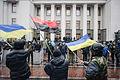 Samooborona (Self Defence) guard and activists at the entrance to Verkhovna Rada. Euromaidan, Kyiv, Ukraine. Events of February 22, 2014.jpg
