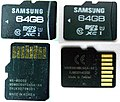 Samsung Pro 64gb micro-SDXC original and falsification front and back.jpg