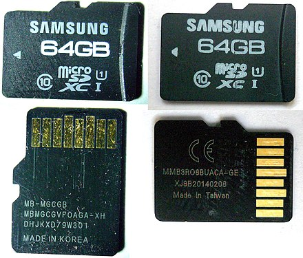 Samsung Pro 64 GB microSDXC original (left) and counterfeit (right): The counterfeit claims to have 64 GB in capacity, but only 8 GB (Class 4 speed) are usable: When trying to write more than 8 GB, data loss occurs. Also used for SanDisk 64 GB fakes. Samsung Pro 64gb micro-SDXC original and falsification front and back.jpg