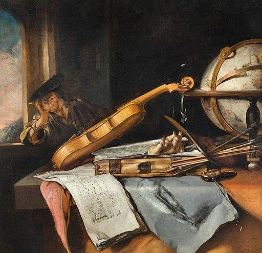 Samuel van Hoogstraten - Vanitas Stilleven met denken jonge man