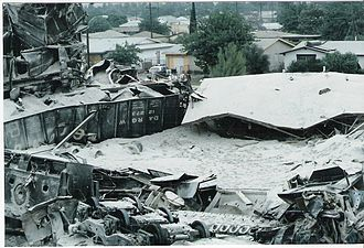 San Bernardino train disaster - Buried house on Duffy St.