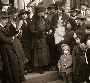 New York City Criminal Court - Margaret Sanger outside the Court of Special Sessions in 1917 for her trial on distributing information on birth control