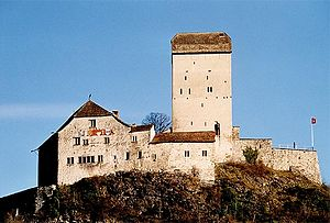 County of Sargans - Sargans Castle, with the coats of arms of the seven cantons sharing jurisdiction visible on the left-hand side