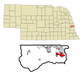 Sarpy County Nebraska Incorporated and Unincorporated areas Offutt AFB Highlighted.svg