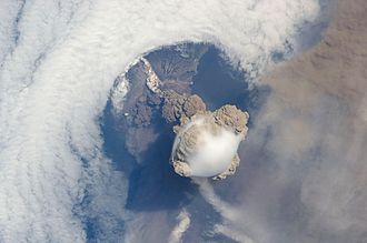 Kuril Islands - The Sarychev volcano erupting on June 12, 2009, as seen from the International Space Station.