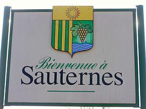 Panneau de Bienvenue à l'entrée de Sauternes (...